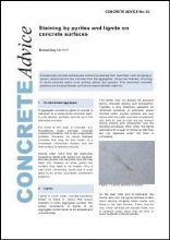 Staining by pyrites and lignite on concrete surfaces